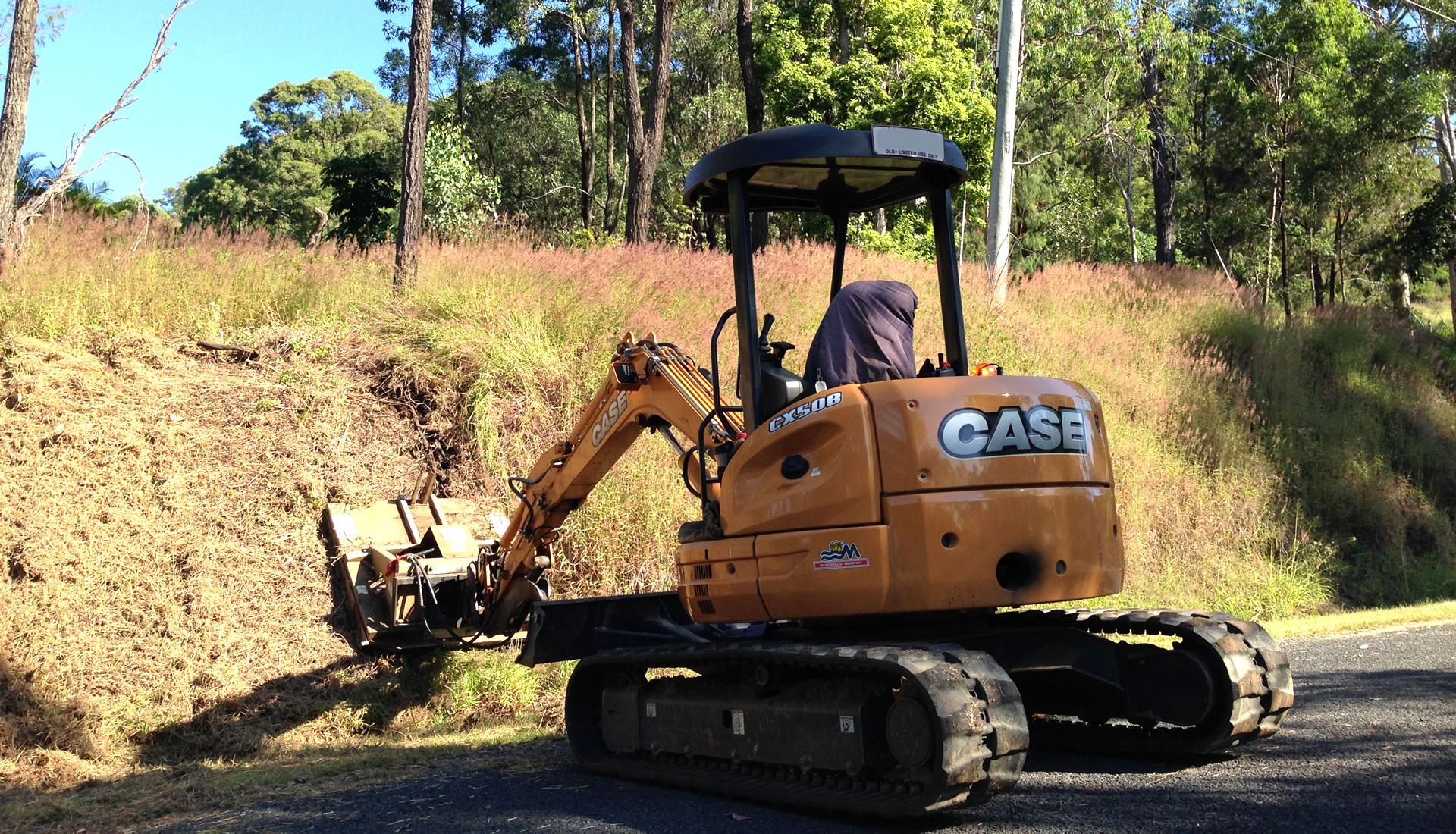 5 ton excavator with slasher attachment hire gold coast brisbane